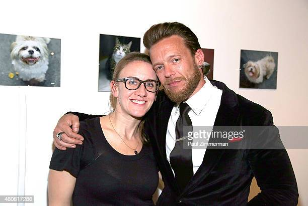 Shawn Purdy Antonaglia and photographer Jamie McCarthy attend a pet portrait exhibition by Getty Images staff photographer Jamie McCarthy to benefit...