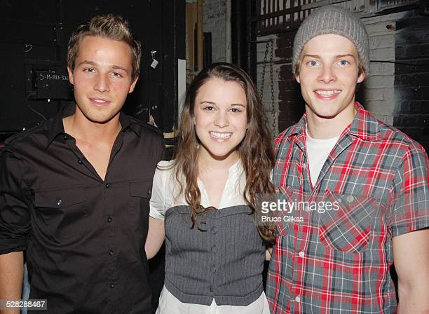 Shawn Pyfrom Alexandra Socha and Hunter Parrish pose backstage at Spring Awakening on Broadway at The Eugene O'Neill Theater on September 13 2008 in...