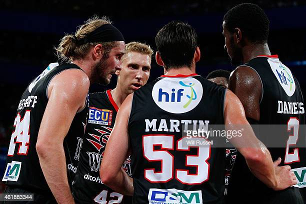 Shawn Redhage of the Wildcats speaks to teammates during the round 15 NBL match between the Perth Wildcats and Melbourne United at Perth Arena on...