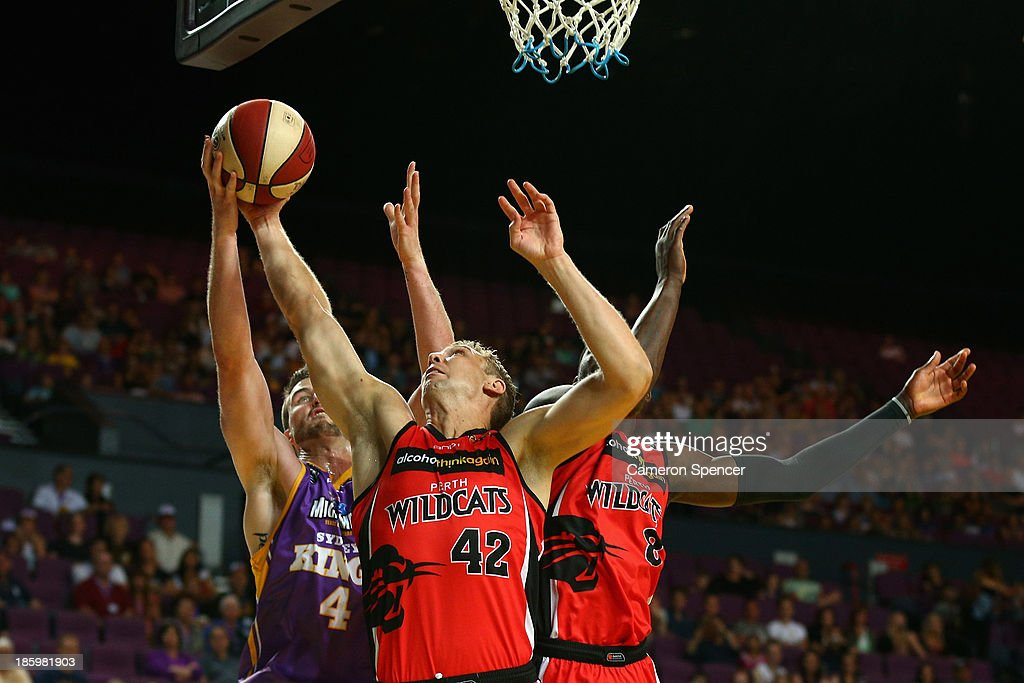 Shawn Redhage of the Wildcats takes a rebound during the round three NBL match between the Sydney Kings and the Perth Wildcats at Sydney Entertainment Centre in October 27, 2013 in Sydney, Australia.