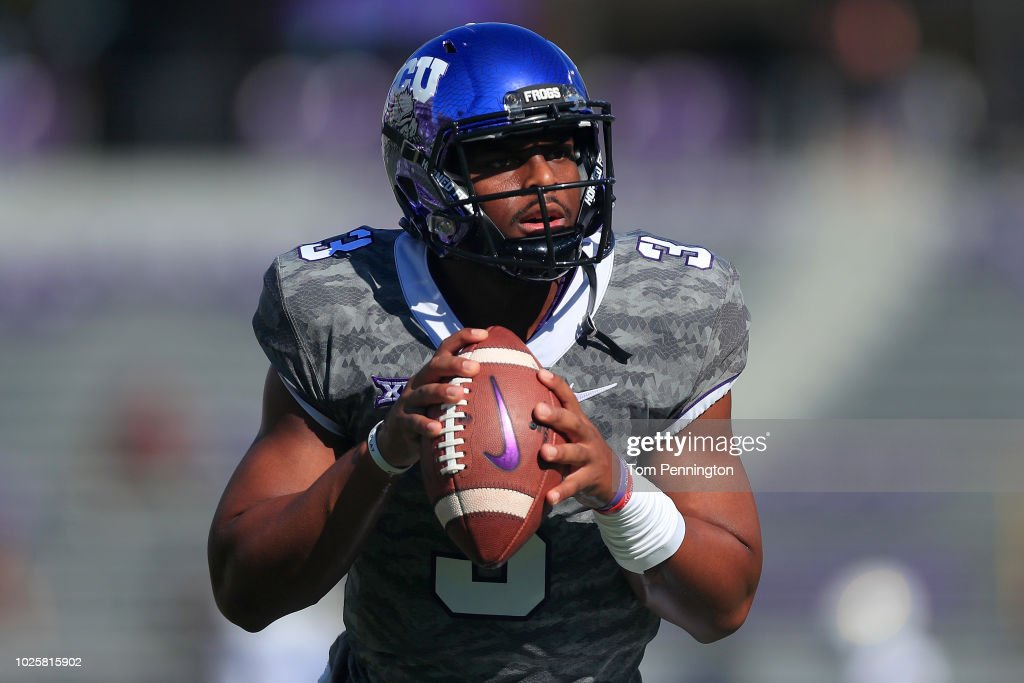 Shawn Robinson #3 Of The TCU Horned Frogs Looks For An Open Receiver During  Pregame