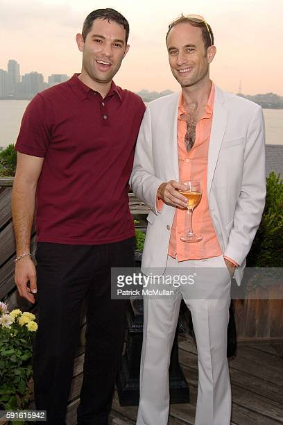 Shawn Sachs and Andrew Boose attend Amendorg Founders' Dinner at Hunt Slonem Studio on June 30 2005 in New York City