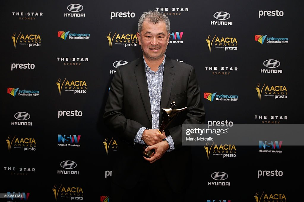 Shawn Seet accepts the AACTA Award for Best Screenplay in Television on behalf of Michael Miller during the 5th AACTA Awards Presented by Presto at The Star on December 9, 2015 in Sydney, Australia.