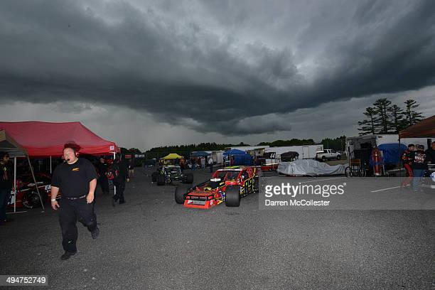 Shawn Solomito driver of the Cystic Fibrosis Fdn/Acme Sanitary Chevrolet heads out to practice for the TSI HarleyDavidson 125 under dark skies at...