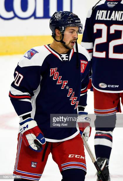 Shawn St. Amant of the Hartford Wolf Pack skates in warmup prior to a game against the Toronto Marlies during AHL game action on October 20, 2018 at...