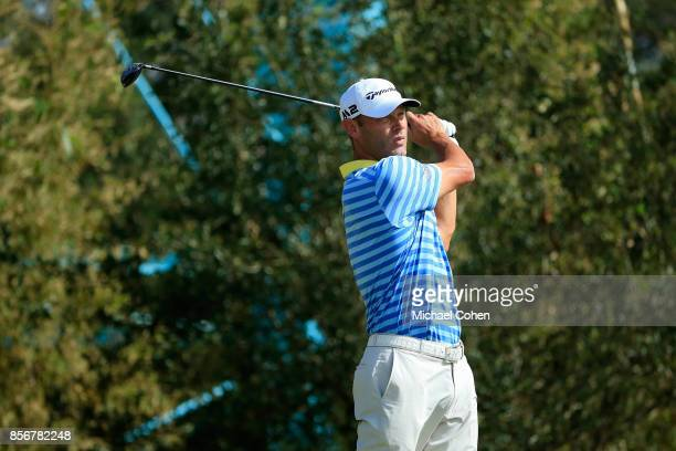 Shawn Stefani hits his drive on the seventh hole during the fourth and final round of the Webcom Tour Championship held at Atlantic Beach Country...