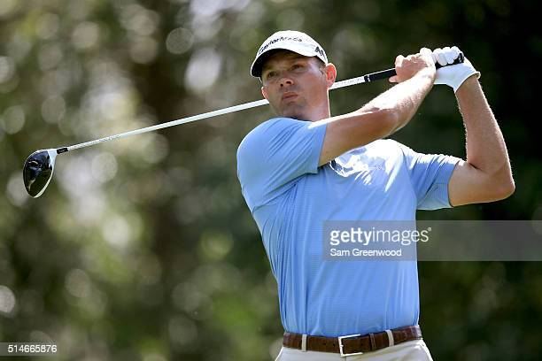 Shawn Stefani hits off the ninth tee during the first round of the Valspar Championship at Innisbrook Resort Copperhead Course on March 10 2016 in...