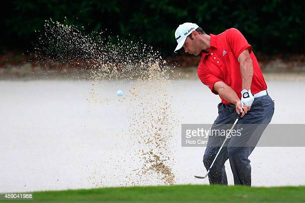 Shawn Stefani of the United States hits a shot out of the bunker on the 16th hole during the third round of the OHL Classic at Mayakoba on November...