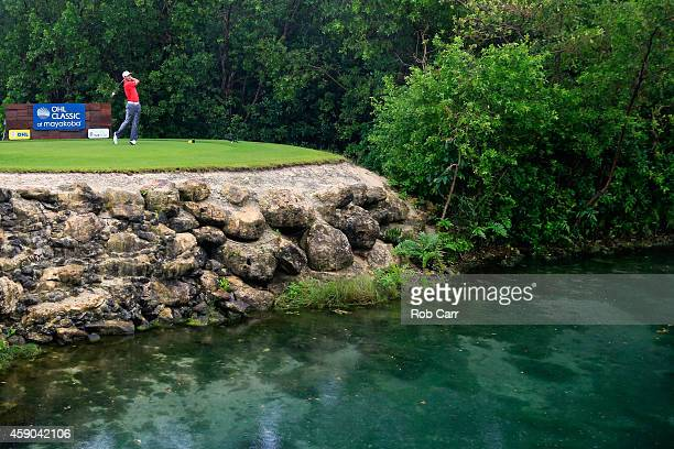 Shawn Stefani of the United States hits a tee shot on the 17th hole during the third round of the OHL Classic at Mayakoba on November 15 2014 in...