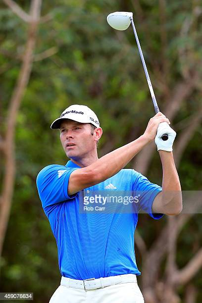 Shawn Stefani of the United States hits a tee shot on the 7th hole during the final round of the OHL Classic at the Mayakoba El Camaleon Golf Club on...