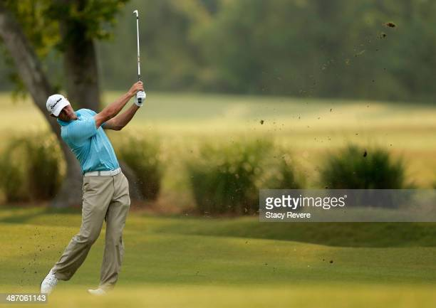 Shawn Stefani plays a shot on the 1st during the Final Round of the Zurich Classic of New Orleans at TPC Louisiana on April 27, 2014 in Avondale,...