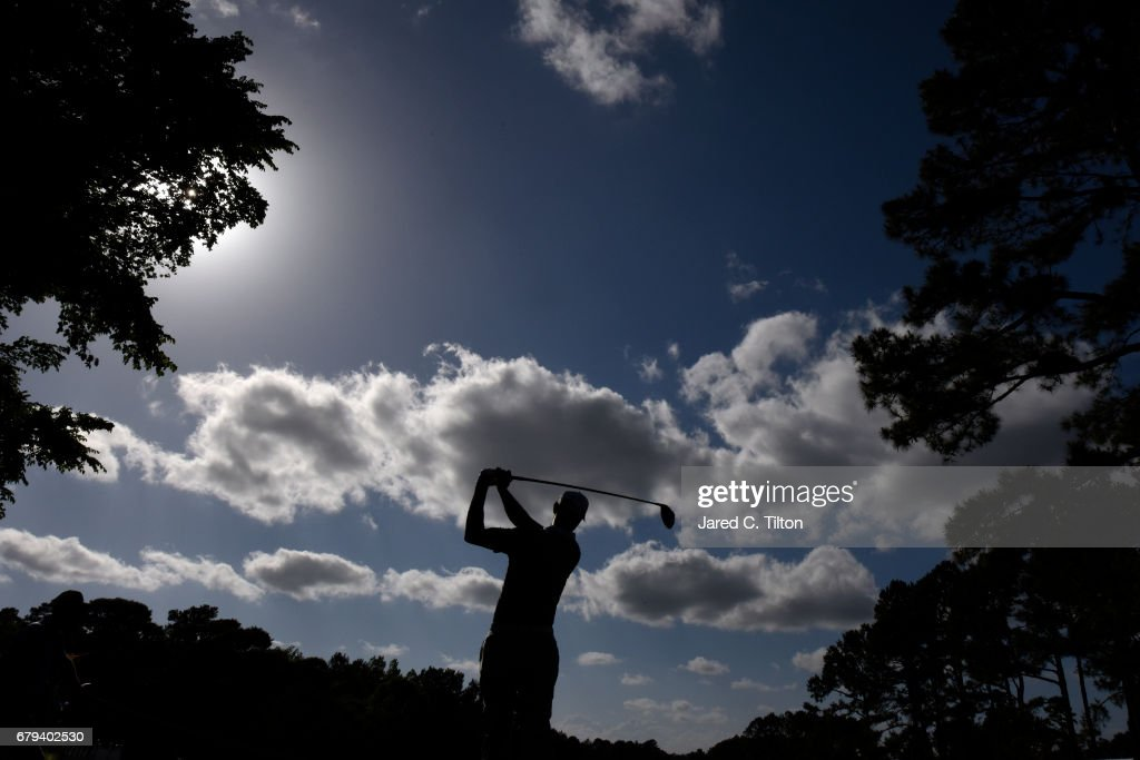 Shawn Stefani plays his shot from the 12th tee during round two of the Wells Fargo Championship at Eagle Point Golf Club on May 5, 2017 in Wilmington, North Carolina.