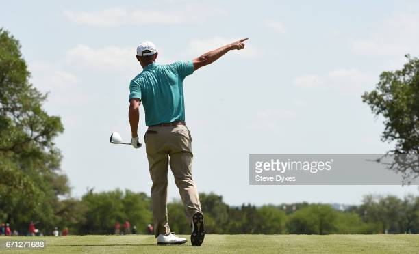 Shawn Stefani plays his shot from the 15th tee during the second round of the Valero Texas Open at TPC San Antonio ATT Oaks Course on April 21 2017...