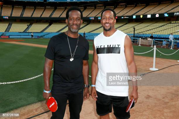 Shawn Stockman and Jaleel White at Clayton Kershaw's 5th Annual Ping Pong 4 Purpose Celebrity Tournament at Dodger Stadium on July 27 2017 in Los...