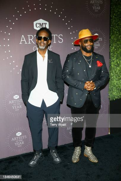 Shawn Stockman and Wanya Morris of Boyz II Men attend the 2021 CMT Artist Of The Year on October 13, 2021 in Nashville, Tennessee.