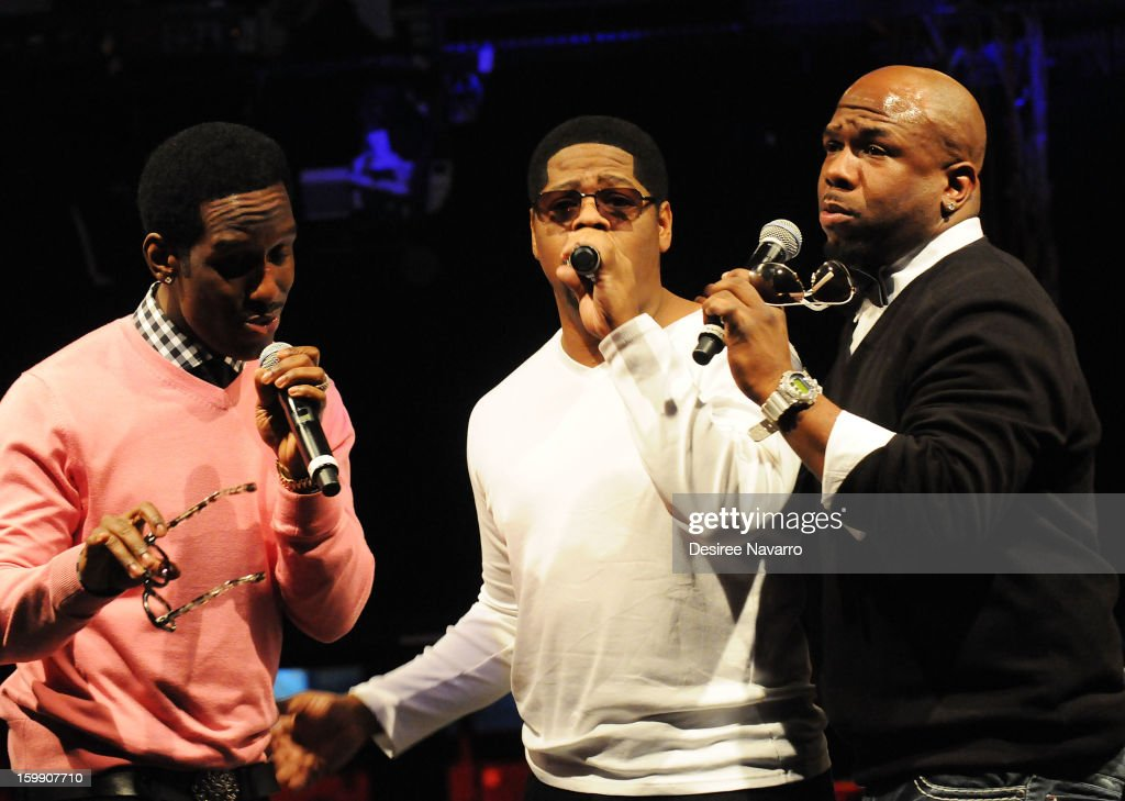 Shawn Stockman; Nathan Morris and Wanya Morris of Boyz II Men perform at the New Kids On The Block Special Announcement at Irving Plaza on January 22, 2013 in New York City.