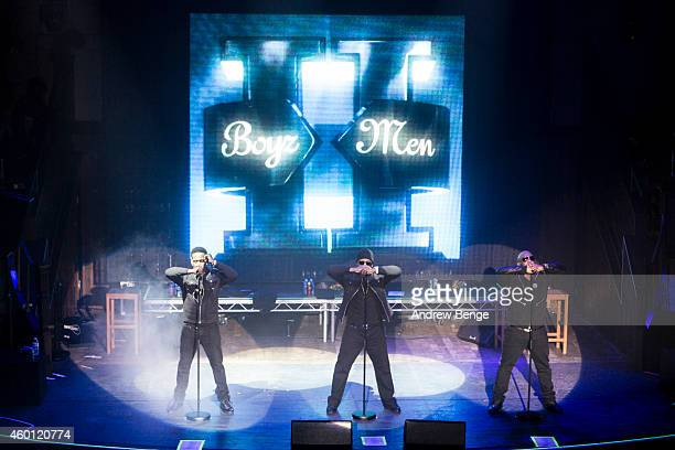 Shawn Stockman Nathan Morris and Wanya Morris of Boyz II Men perform on stage at Albert Hall on December 7 2014 in Manchester United Kingdom
