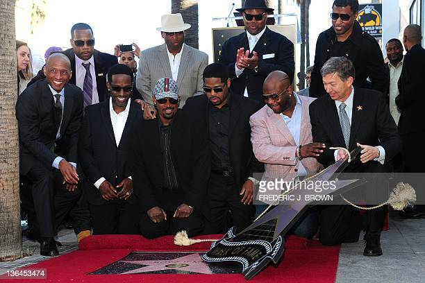 Shawn Stockman Nathan Morris and Wanya Morris of the RB group Boyz II Men are joined by former band mamber Michael McCary and friends as Leroy Gubler...