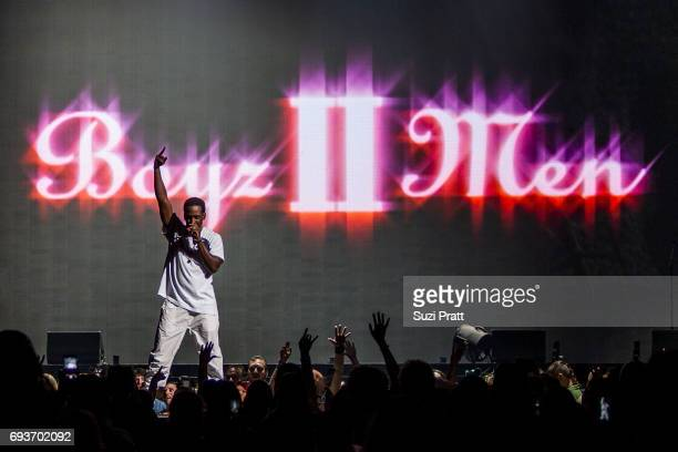 Shawn Stockman of Boyz II Men performs during 'The Total Package Tour' at KeyArena on June 7 2017 in Seattle Washington