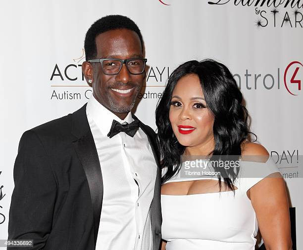 Shawn Stockman Sharonda Jones attend ACT's 10th annual Denim Diamonds Gala at Four Seasons Hotel on October 25 2015 in Westlake Village California