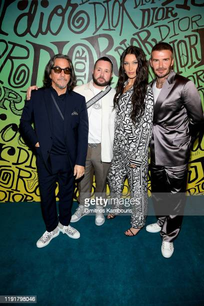 Shawn Stussy, Kim Jones, Bella Hadid and David Beckham attend the Dior Men's Fall 2020 Runway After Party on December 03, 2019 in Miami, Florida.