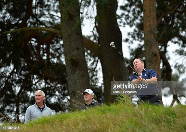 Shawn Thomas of Worcester Golf Country Club watches his drive on the 16th tee during the first round of the Lombard Trophy Grand Final at Gleneagls...