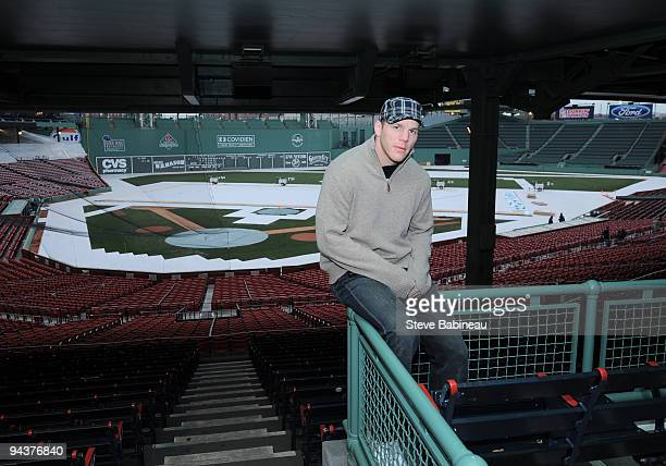 Shawn Thornton of the Boston Bruins at Fenway Park during the build out of the ice rink for the 2010 Winter Classic on December 13 2009 in Boston...