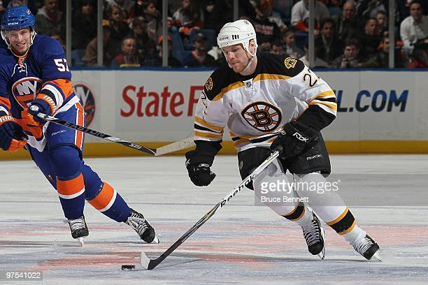 Shawn Thornton of the Boston Bruins skates against the New York Islanders at the Nassau Coliseum on March 6 2010 in Uniondale New York
