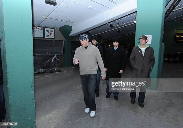 Shawn Thornton Tuukka Rask Marc Savard and Michael Ryder of the Boston Bruins at Fenway Park during the build out of the ice rink for the 2010 Winter...