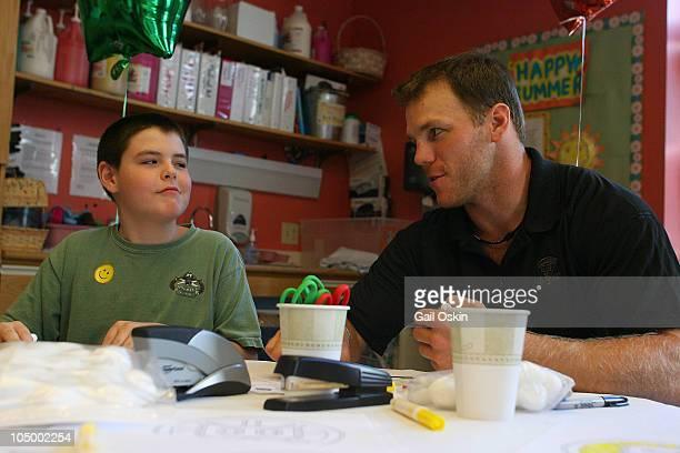 Shawn Thornton visits Patrick at Children's Hospital Boston on August 19 2010 in Boston Massachusetts