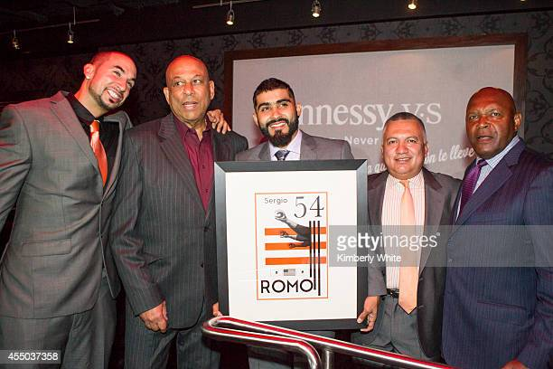 Shawn Villasenor Orlando Cepeda Sergio Romo Manny Gonzalez and and Vida Blue pose for a photograph at Infusion Lounge on September 8 2014 in San...