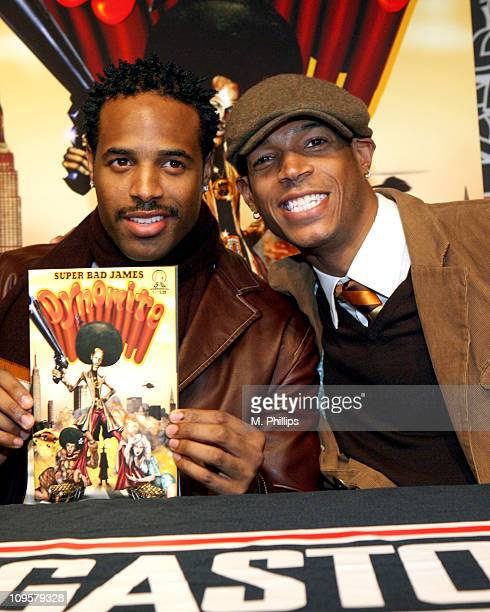 Shawn Wayans and Marlon Wayans during Super Bad James Dynomite Comic Book Signing with Marlon and Shawn Wayans in Los Angeles California United States