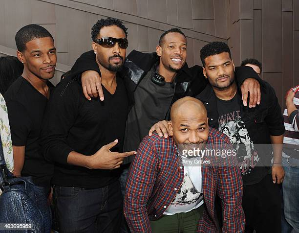 Shawn Wayans Marlon Wayans Damian Wayans and Mike Wayans attend Vanessa Simmons Baby Shower at Sugar Factory Hollywood on January 18 2014 in Los...