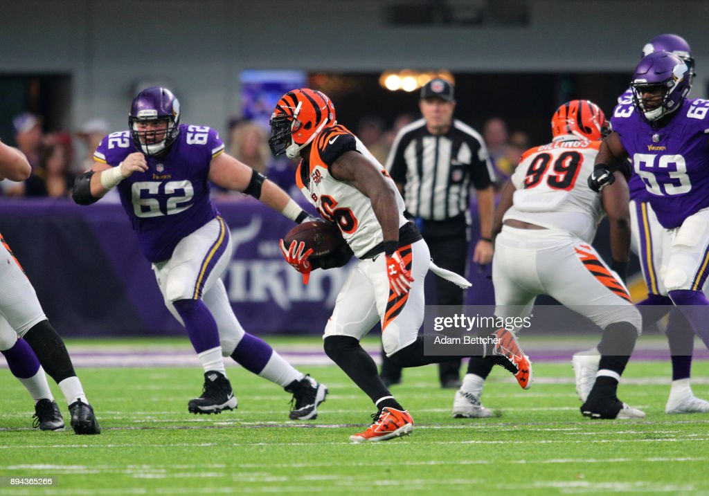 Shawn Williams #36 of the Cincinnati Bengals runs with the ball after making an interception in the fourth quarter of the game against the Minnesota Vikings on December 17, 2017 at U.S. Bank Stadium in Minneapolis, Minnesota.