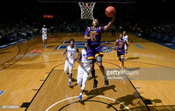 Shawn Williams of the East Carolina Pirates drives to the basket for a layup against the Memphis Tigers on March 4 2018 at FedExForum in Memphis...