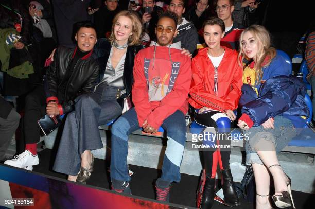 Shawn Yue Eva Herzigova Lewis Hamilton Ruby Rose and Sabrina Carpenter attend the Tommy Hilfiger show during Milan Fashion Week Fall/Winter 2018/19...