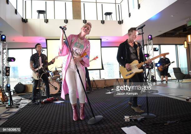 Shawna Thompson and Keifer Thompson of the band Thompson Square perform during a listening event for their new album Masterpiece at The Steps at WME...