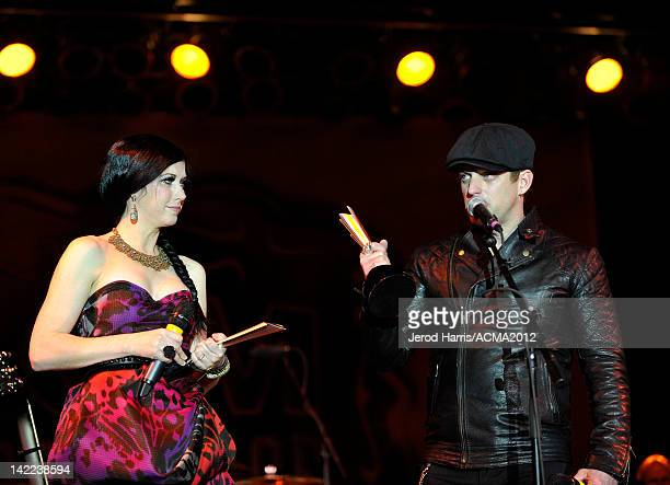 Shawna Thompson and Keifer Thompson of the music duo Thompson Square accept the award for Vocal Duo of the Year onstage at the ACM concert 'Salute To...