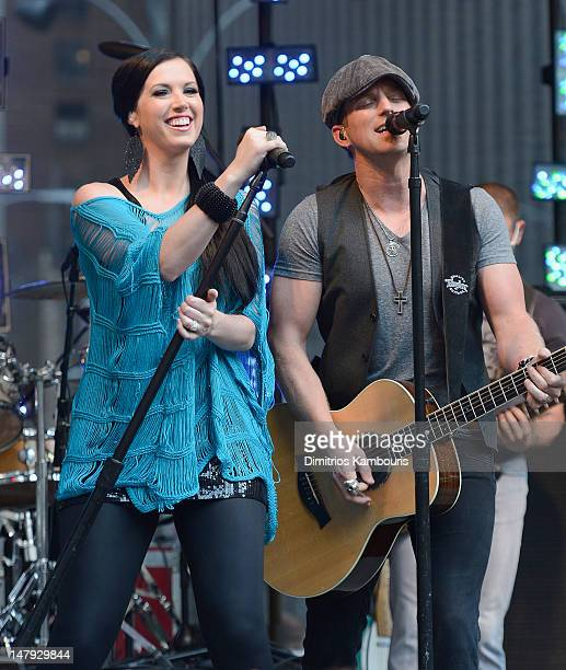 Shawna Thompson and Keifer Thompson of Thompson Square perform during FOX Friends All American Concert Series at FOX Studios on July 6 2012 in New...