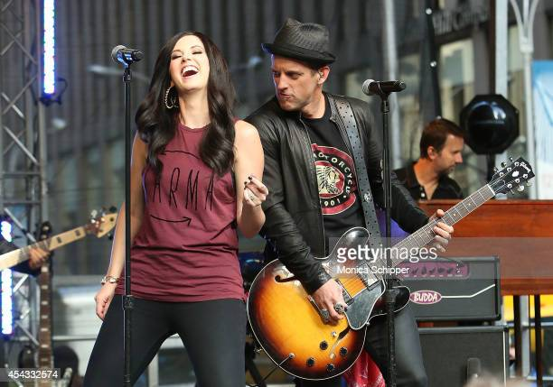 Shawna Thompson and Keifer Thompson of Thompson Square perform during FOX Friends All American Concert Series outside of FOX Studios on August 29...
