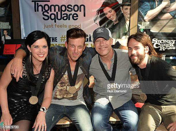 Shawna Thompson Keifer Thompson cowriter Jason Sellers and Paul Jenkins attend the Thompson Square Party For If I Didn't Have You at The Row on June...