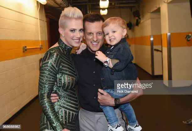 Shawna Thompson Keifer Thompson of musical duo Thompson Square and son attend the 2018 CMT Music Awards Backstage Audience at Bridgestone Arena on...