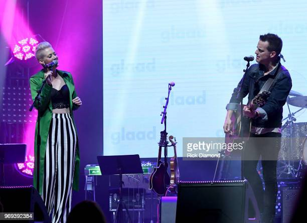 Shawna Thompson Keifer Thompson of Thompson Square performs at the GLAAD TY HERNDON's 2018 Concert for Love Acceptance at Wildhorse Saloon on June 7...