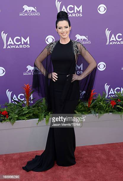 Shawna Thompson of music group Thompson Square arrives at the 48th Annual Academy of Country Music Awards at the MGM Grand Garden Arena on April 7...