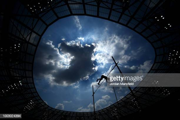 Shawncy Barber of Canada competes in the Men's Pole Vault during Day One of the Muller Anniversary Games at London Stadium on July 21 2018 in London...