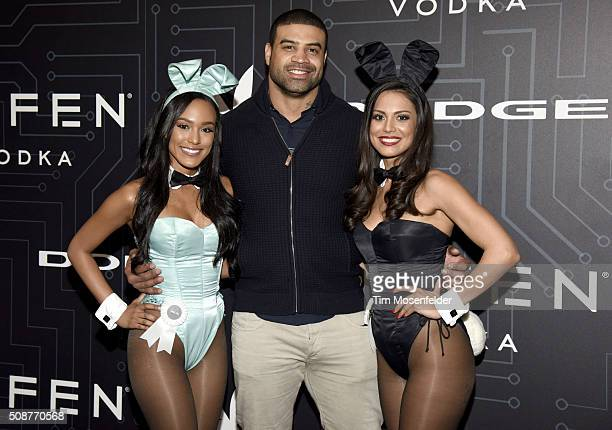 Shawne Merriman attends The Playboy Party on February 5 2016 in San Francisco California