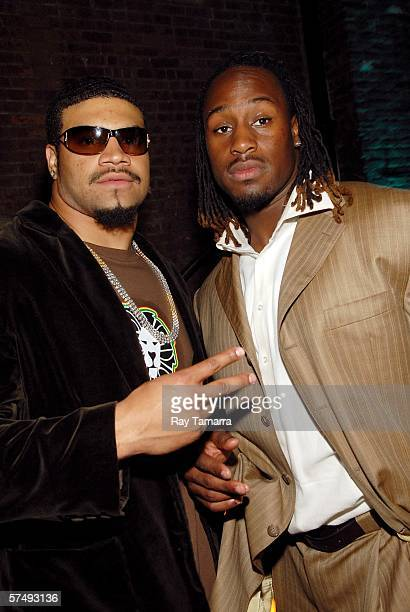 Shawne Merriman of the San Diego Chargers and NFL draftee Vernon Davis attend the ESPN The Magazine And Hummer's PreDraft Celebrity Bash at Club Sol...