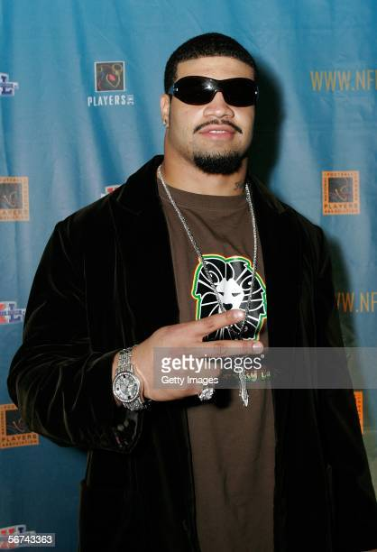 Shawne Merriman of the San Diego Chargers attends the NFLPA and PLAYERS INC NFL Players Party at the Detroit Opera House on February 3 2006 in...