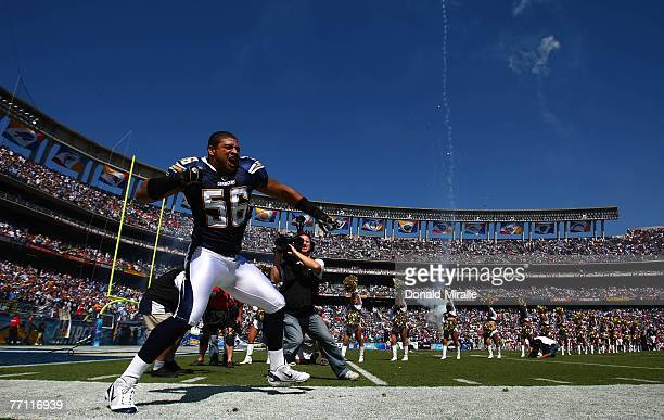 Shawne Merriman of the San Diego Chargers enters the game against Kansas City Chiefs during their NFL game on September 30 2007 at Qualcomm Stadium...