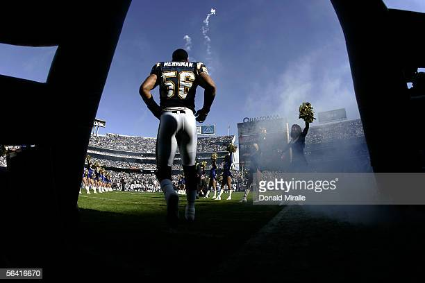 Shawne Merriman of the San Diego Chargers enters the game against the Miami Dolphins during the first half of their NFL Game on December 11 2005 at...